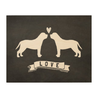 Mastiffs Love - Dog Silhouettes w/ Heart Wood Canvas