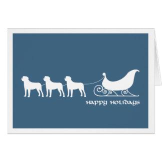 Mastiffs Pulling Santa's Sleigh Card