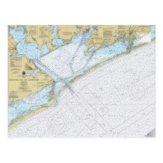 Matagorda Bay Texas Nautical Harbor chart postcard