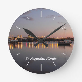 Matanzas Bay & Bridge of lions, St. Augustine, FL Round Clock