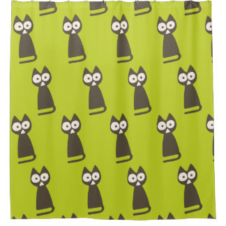 Matcha Green Brown Triangle Cat Shower Curtain
