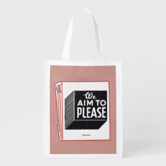 matchbook cover We Aim to Please Reusable Grocery Bag