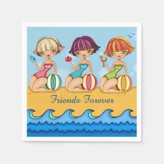 Matching Beach Girls Party Napkin Disposable Serviettes