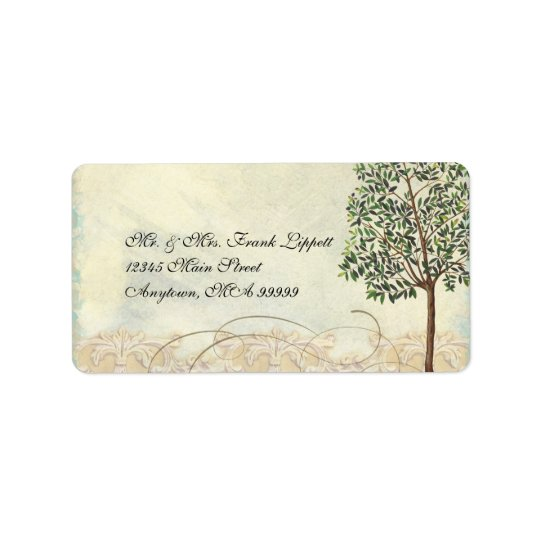 Matching Mailing Labels, Tuscan Olive Tree Swirl Label