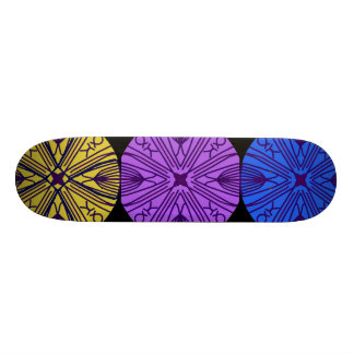 Matching mandalas in three complimentary colors. skateboards