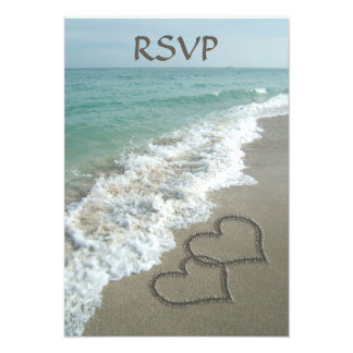 Matching Sand Hearts on the Beach, Romantic Ocean Personalized Invites
