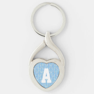 Matchstick Pattern Monogram Silver-Colored Twisted Heart Key Ring