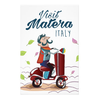 Matera Italy Cartoon Scooter travel print Stationery Paper