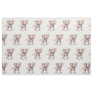 Material with handpainted elephant baby fabric