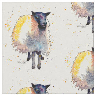 Material with handpainted sheep fabric
