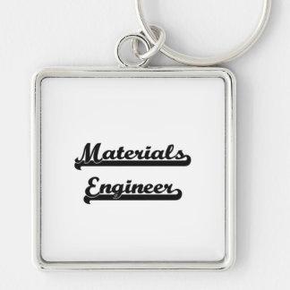 Materials Engineer Classic Job Design Silver-Colored Square Key Ring