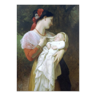 "Maternal Admiration by William Adolphe Bouguereau 4.5"" X 6.25"" Invitation Card"