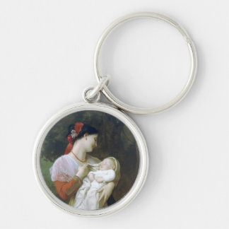 Maternal admiration Silver-Colored round key ring