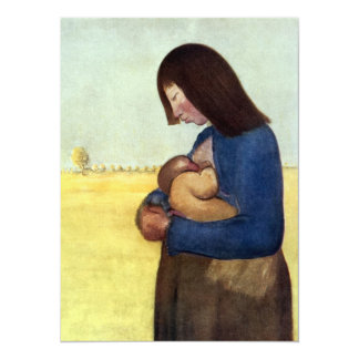 Maternity Mother and Child 14 Cm X 19 Cm Invitation Card