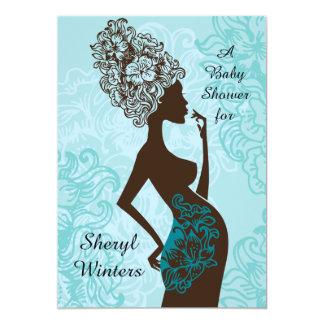 Maternity Silhouette Blue Baby Shower Invitation