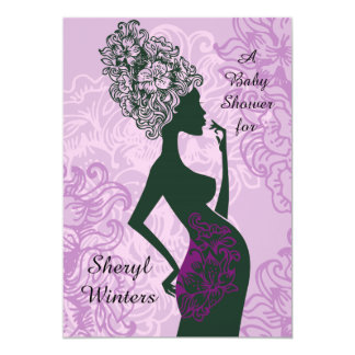 Maternity Silhouette Pink Baby Shower Invitation