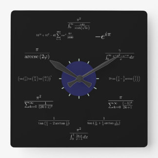 Math (black) square wall clock