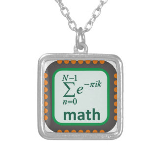 Math Computer Chip Silver Plated Necklace