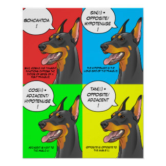 Math Dog Colorful Trigonometry Doberman Poster