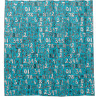 math doodle blue shower curtain