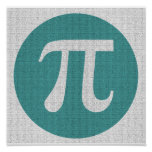 Math geek Pi symbol, blue circle and digits. Poster
