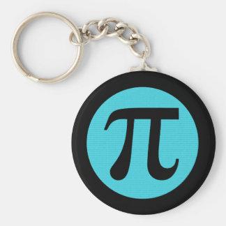 Math geek Pi symbol, blue on black Key Ring