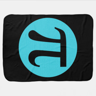 Math geek Pi symbol, blue on black Receiving Blanket