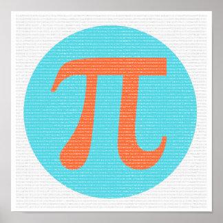 Math geek Pi symbol, orange and blue Poster