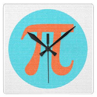 Math geek Pi symbol, orange and blue Square Wall Clock