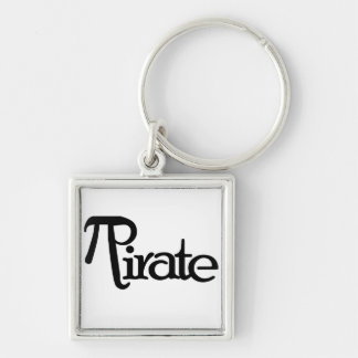 Math Geek Pirate Silver-Colored Square Key Ring