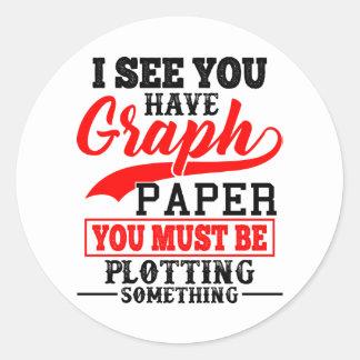 Math Graph paper plotting something Pun Teacher Classic Round Sticker