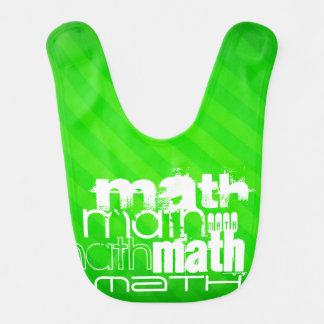 Math; Neon Green Stripes Baby Bibs
