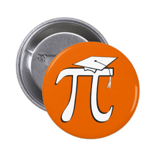 Math Pi Graduate - Orange and White 6 Cm Round Badge