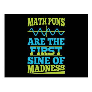 Math Puns Sine of madness! Teacher Joke Postcards