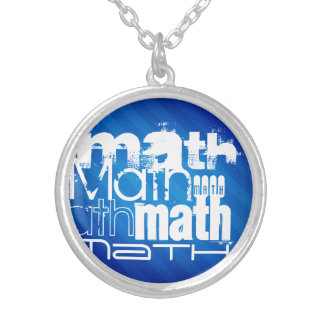Math; Royal Blue Stripes Personalized Necklace