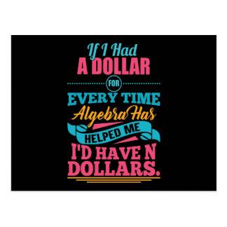 Math Teacher Algebra Pun N Dollars Postcards
