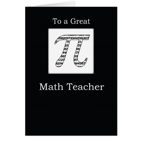 Math Teacher Pi Day Black Card