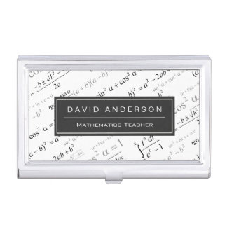 Math Teacher Stylish Mathematics Equations Pattern Business Card Holder