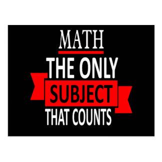 Math. The only subject that counts. Math Pun Joke Postcard