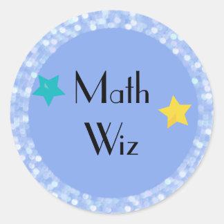 Math Wiz with Stars Classic Round Sticker
