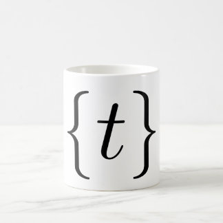 Mathematical 't' set (black) coffee mug