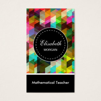 Mathematical Teacher- Colorful Mosaic Pattern Business Card
