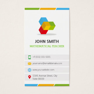 Mathematical Teacher - Colorful with QR Code Business Card