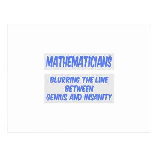 Mathematician Joke .. Genius and Insanity Post Card
