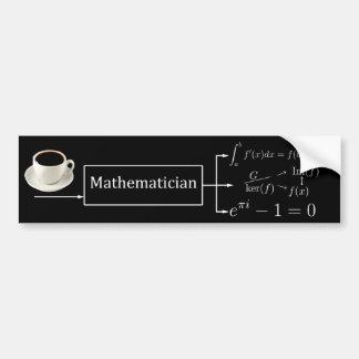 Mathematician machine (black) bumper sticker