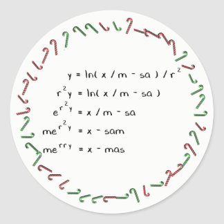 Mathematics Christmas Wish Classic Round Sticker