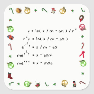 Mathematics Christmas Wish Square Sticker