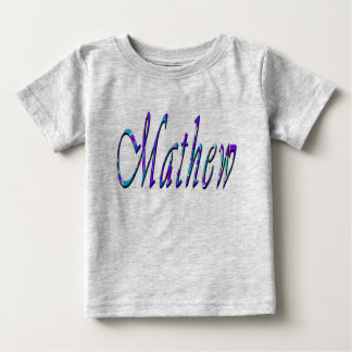 Mathew, Name, Logo, Baby's Grey T-shirt