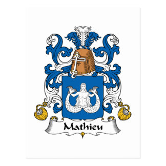 Mathieu Family Crest Postcard