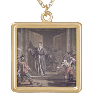 Mathieu Mole (1584-1656) harangued by the people, Gold Plated Necklace